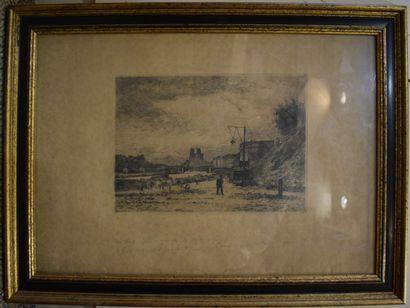 """Lepine Stanislas (1835-1892)  """"Bord de Seine""""  Gravure non signée  Annotations au..."""