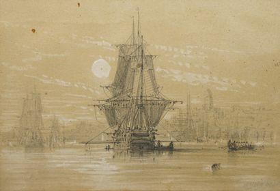 NOËL Jules, 1810-1881,  Navires près d'un...