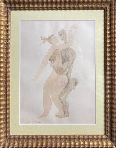 ÉCOLE MODERNE  Couple  aquarelle (insolation...