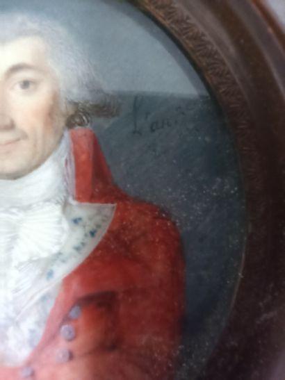 Ecole Française début XIXe,  Portrait d'homme à la veste rouge avec un enfant,  miniature...