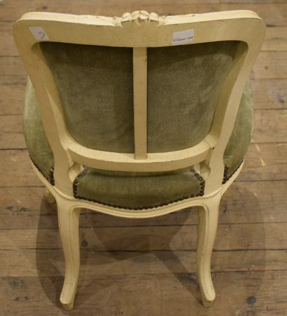 Chaise en bois sculpté peint à moulure de...