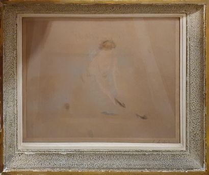 HIRNÉ (1868-1944) dit LERICHE Henri  Jeune femme se chaussant,  lithographie, signée...