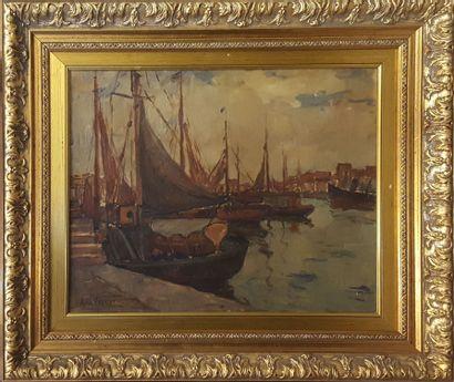 VROUYR Ara (XIX-XXe)  Port de pêche  Huile...