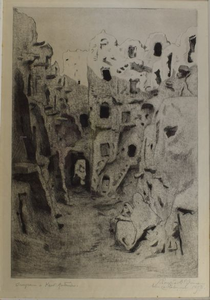 PROUVE Emile-Victor known as Victor Prouvé (1858-1943)  Impasse in Ksar  Lithograph,...