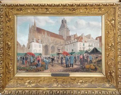 FREMONT Robert (XIX-XX)  Marché en Normandie,...