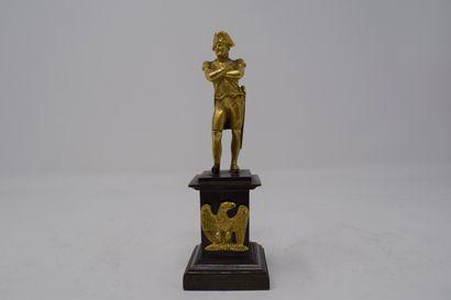 Statuette de Napoléon en bronze doré.  (Accident...