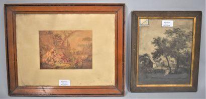 MANETTE DE 6 GRAVURES ANCIENNES ET DE 5 ESTAMPES : - DEMARTEAU Gilles (1722-1776),...