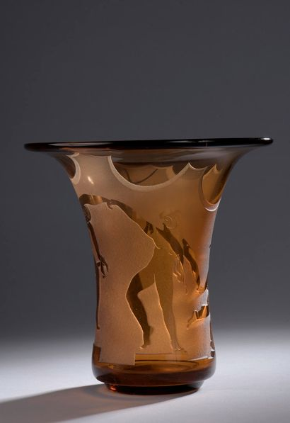 BERLYS  Vase tubulaire à grand col conique....