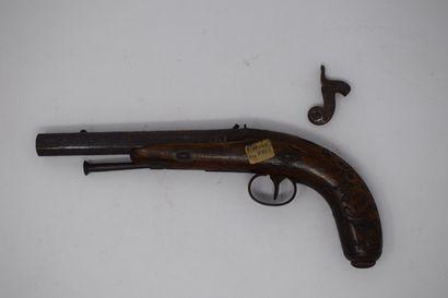 Pistolet à silex vers 1830, canon à pans....