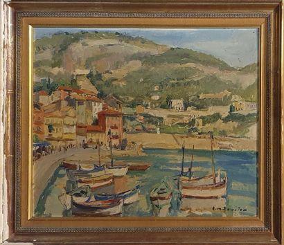 BOUVIER EM (XXème)  Port  Huile sur isorel...