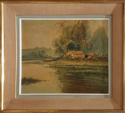 JULLIANY M. (1854-1941)  Maison à l'étang...