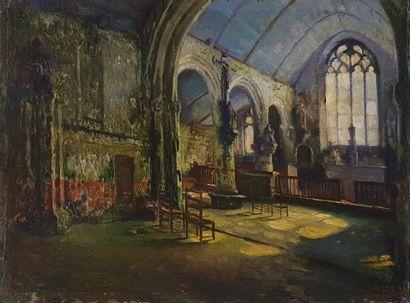 SILBERT Max (1871-1930)  Intérieur d'église...