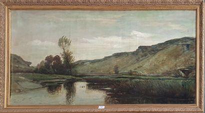 ECOLE XIXème siècle  Paysage à la rivière...