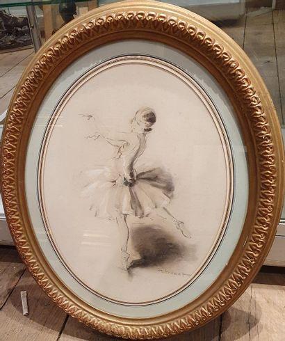 POTRONAT Lucien (1889-1974)  Ballerine  Fusain...