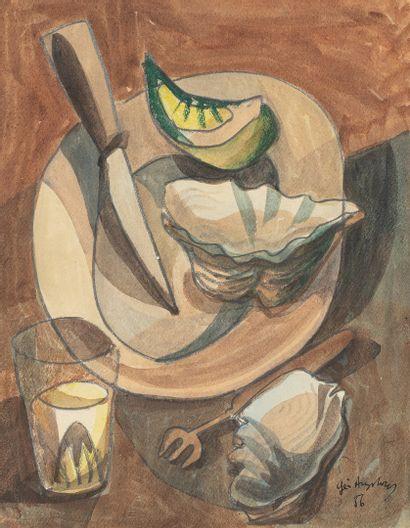 AUGSBOURG Géa, 1902-1974,  Assiette à l'huître...