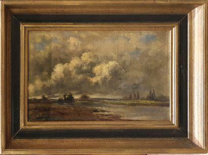 FREY Eugène (1864-1930)  Paysage à la rivière...