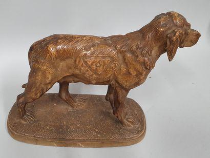 FREMIET Emmanuel, 1824-1910,  Chien de chasse,  épreuve en terre cuite à patine...