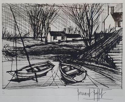 BUFFET Bernard, 1928-1999,  Barques et maisons...