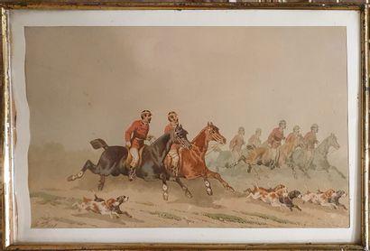 FORT Théodore (1810-1896)  Scène de chasse...