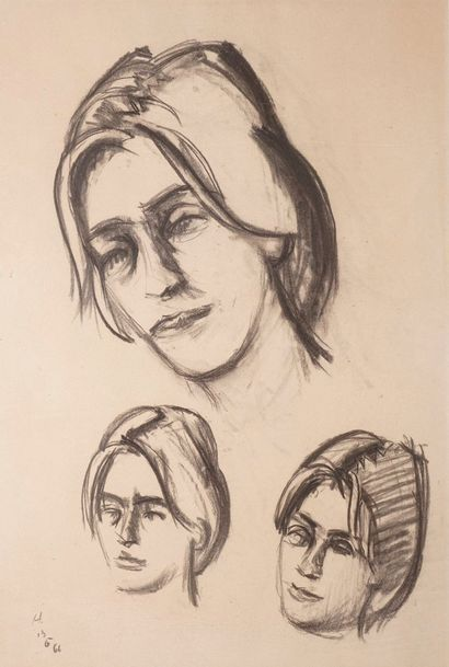 HÉLION Jean, 1904-1987  Étude de têtes, 13.6.66...