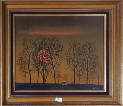 ZELLER Fred, 1912-2003,  Le crépuscule,  huile...