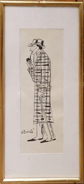 OBERLÉ Jean (1900-1961)  caricature de Jacques...