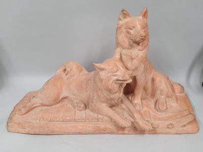 FIOT Maximilien Louis (1886-1953)  Deux chien...