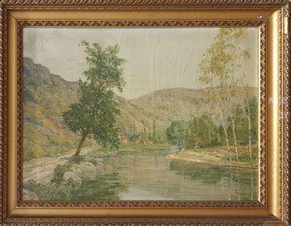 VEYRE Alexandre (1886-?)  Village en bord...