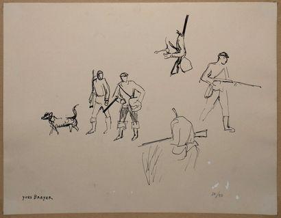 BRAYER Yves, 1907-1990  Chasseurs et chiens,...