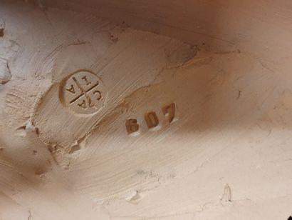 CLODION, d'après  Putti jouant avec une chèvre  Groupe en terre cuite patinée sur...