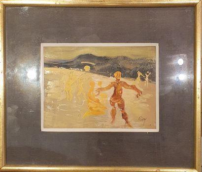RISSE Ernest (1921-2005)  La plage  Gouache...