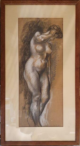 PIOT René, 1869-1934,  Nue en pied,  fusain...