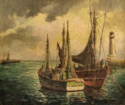 GUILVINEC (XXème)  Un coin du port, finistère...