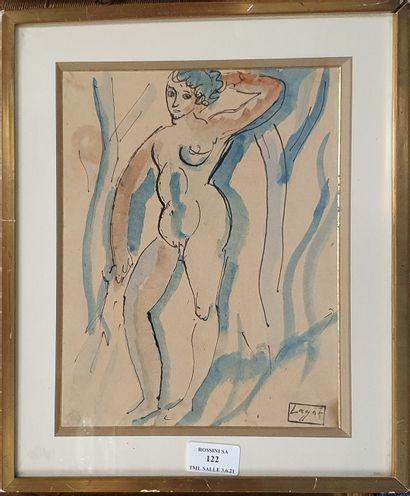 LAGAR Celso, 1891-1966,  Nu aux arbres,  plume,...