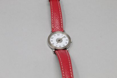 HERMES  Ladies' wristwatch, round case, white dial with Arabic numerals.  Signed...