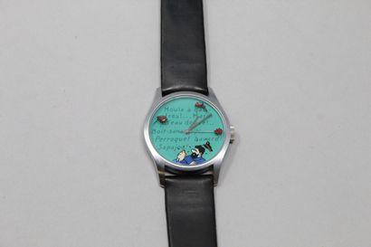 TINTIN montre bracelet cuir noir, boîte en acier. Edition Hergé/Moulinsart 1997....