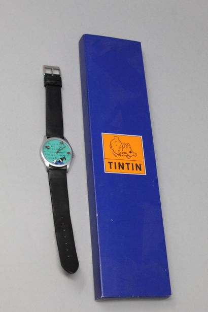 TINTIN montre bracelet cuir noir, boîte en...