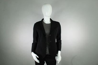 CELINE    Veste noire en laine à maille fluide,...