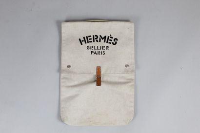 """HERMES  Sac en toile beige et cuir naturel porté main logo typé """"HERMES SELLIER..."""