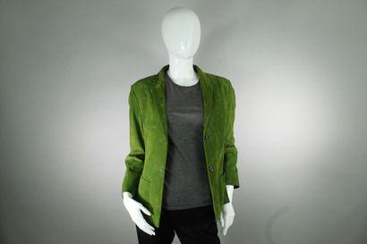 JIL SANDERS    Veste en daim vert à double...