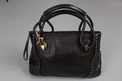ESCADA SPORT    Brown leather handbag, visible white stitching, gold jewellery....