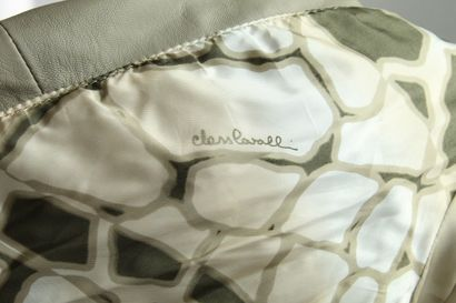 ROBERTO CAVALLI CLASS    Beige lambskin leather short jacket with pleats and crinkles...