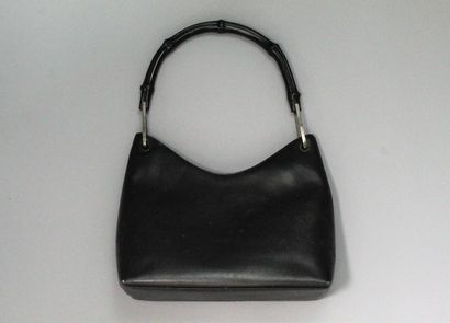 GUCCI  Shoulder or hand bag in smooth black leather and bamboo handle emblematic...
