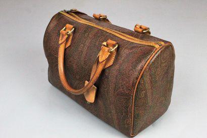 ETRO    Sac à main Boston en cuir naturel et toile enduite à motif paisley iconique...
