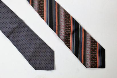 CHRISTIAN DIOR, KENZO  Lot de deux cravates,...