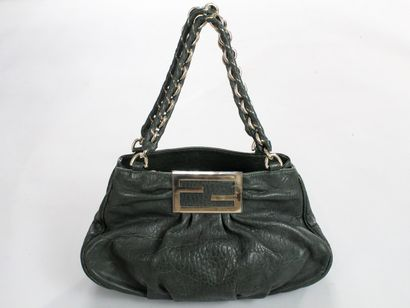 """FENDI    Bag variation of the """"Big Mama"""" model, in green lamb leather with chain..."""