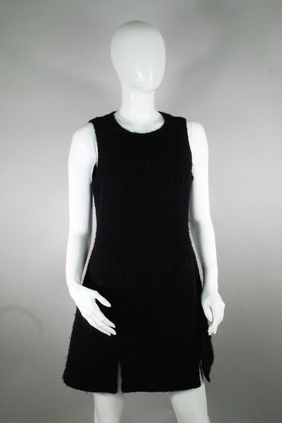 VERSACE JEANS COUTURE  Black sleeveless dress with double slit in virgin wool bouclette....