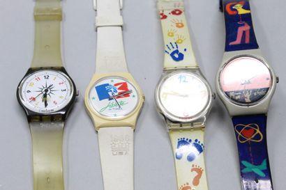 SWATCH  3 montres bracelet. On y joint une montre Liberté de Timex.    Piles à ...