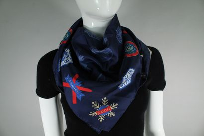 CHANEL  Navy blue silk square with snow and winter sports print and many logos of...
