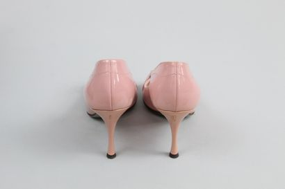 DOLCE & GABBANA    Pair of pink glazed leather open-toe pumps with a signed metal...